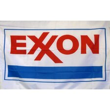 Exxon Gas Oil Logo with Words Traditional Flag