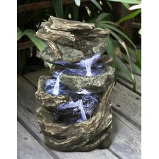 Fiber and Resin Log and Stone Waterfall Fountain