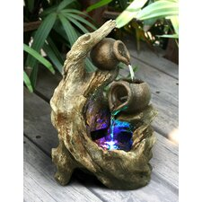 Fiberglass and Resin Tree Trunk Fountain with Light