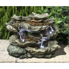 Fiber and Resin 3 Level Log Waterfall with LED Lights Fountain