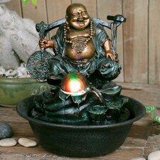 Fiber and Resin Lucky Buddha Spinning Ball Fountain
