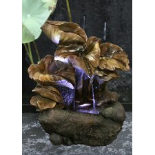 Fiber and Resin Water Lily Leaves Fountain