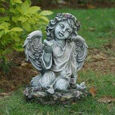 Angel Girl Kneeling with Four Birds Statue