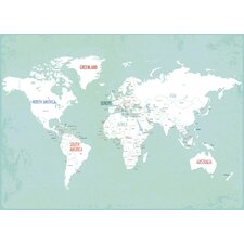 World Map on Wrapped Canvas Art