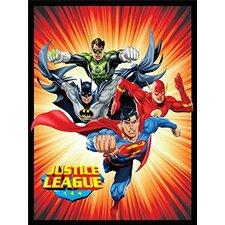 Justice League (Superman, Batman, The Flash, and Green Lantern) Sunburst Luxury Plush Polyester Throw Blanket