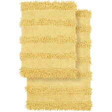 2 Piece Modern Cotton Chenille Solid Bath Mat Rug Set