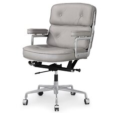Mid-Back Leather Office Chair with Arms