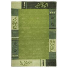 Handgefertigter Teppich Ambadi in Grün
