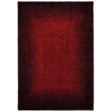 Handgefertigter Teppich Hula in Rot