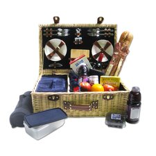 4 Person Willow Picnic Basket with Corduroy