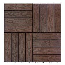 "Naturale Composite 12"" x 12"" Interlocking Deck Tiles in California Redwood"