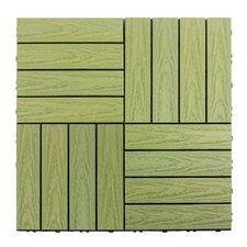 "Naturale Composite 12"" x 12"" Interlocking Deck Tiles in Irish Green"