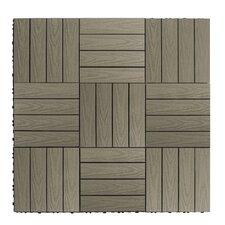 "Naturale Composite 12"" x 12"" Interlocking Deck Tiles in Egyptian Stone Gray"