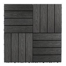 """Naturale Composite 12"""" x 12"""" Interlocking Deck Tiles in Hawaiian Charcoal"""