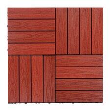 "Naturale Composite 12"" x 12"" Interlocking Deck Tiles in Swedish Red"
