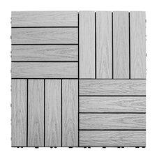 "Naturale Composite 12"" x 12"" Interlocking Deck Tiles in Icelandic Smoke White"