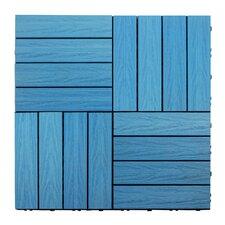 "Naturale Composite 12"" x 12"" Interlocking Deck Tiles in Caribbean Blue"
