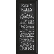 Family Rules by Susan Ball Framed Textual Art