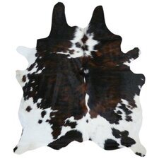 Natural Cow Hide Brindle/White Area Rug