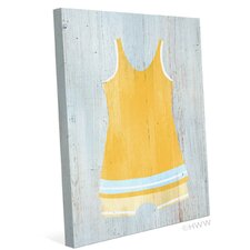 Vintage Yellow Beach Outfit Illustration Graphic Art on Wrapped Canvas
