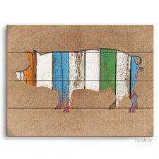 Colored Wood Textured Pig Painting Print