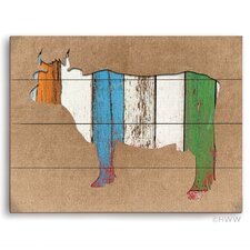 Colored Wood Textured Cow Painting Print