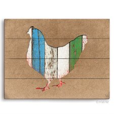Colored Wood Textured Chicken Painting Print Wood Plaque