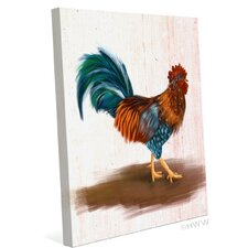 Painted Rooster Painting Print on Wrapped Canvas