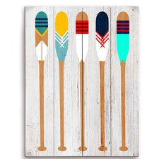 Colorful Canoe Paddle Painting Print on Distressed Wood