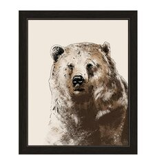 Painted Brown Bear Framed Graphic Art