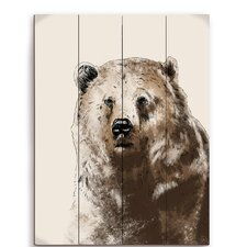 Painted Bear Wood Graphic Art Plaque
