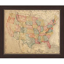 Colored Map Of The United States Framed Graphic Art