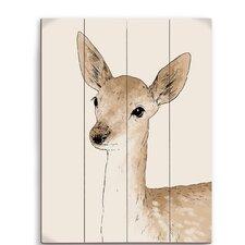 Painted Deer Graphic Art Plaque