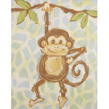 Safari Monkey Blue Canvas Art