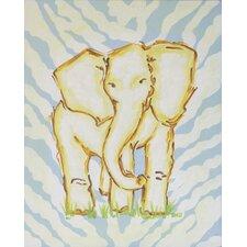 Safari Elephant Blue Canvas Art