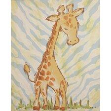 Safari Giraffe Blue Canvas Art