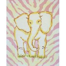 Safari Elephant Pink Canvas Art