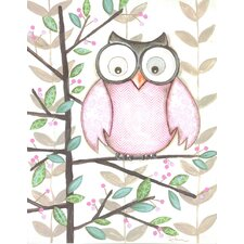 Owl Pink Wall Plaque