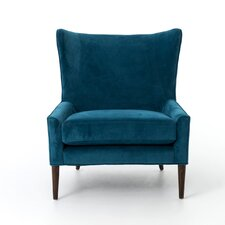 Velvet Blue Marlow Wingback Chair