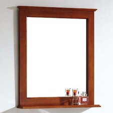 American Solid Wood and Plywood Frame Mirror with Shelf