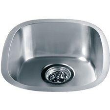 """15.06"""" x 13.44"""" Under Mount Single Bowl Kitchen Sink"""