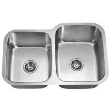 """31.88"""" x 20.88"""" Under Mount Double Bowl Kitchen Sink"""