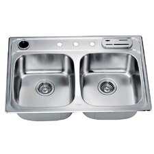 """33"""" x 22"""" Top Mount Equal Double Bowl Kitchen Sink"""