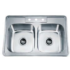 """33.13"""" x 22"""" Top Mount Equal Double Bowl Kitchen Sink"""