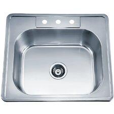 """25"""" x 22"""" Top Mount Single Bowl Kitchen Sink"""