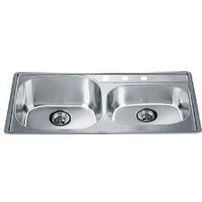 "34.25"" x 19.13"" Top Mount Double Bowl Kitchen Sink"