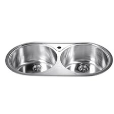 """34.25"""" x 18.13"""" Top Mount Round Equal Double Bowl Kitchen Sink"""