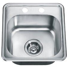 "15.25"" x 14.88"" Top Mount Single Bowl Kitchen Kitchen Sink"