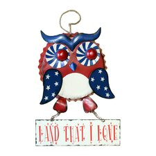 Hanging Patriotic Owl with Sign