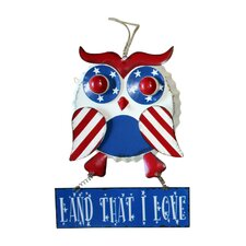 Hanging Metal Patriotic Owl with Sign